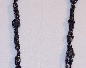 "Black Seed Bead, Hemitite, Blackstone and Picture Jasper Donut Gemstone Beads 31"" Necklace Free Ship USA 0602"
