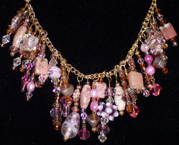 Sale!!  Handmade Chain Pink Swarovski Crystals, Jasper & Pearls Charm Necklace 0511 Free Ship USA