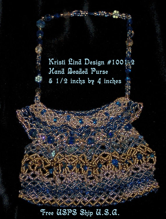 Sale!! Handmade Fall and Winter Sale Amulet Evening Purse, Blue Glass Beads FREE Ship USA 1001-2