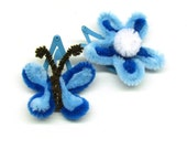Butterfly Clip, Flower Clip, Snap Clips, Cute Blue, For Kids - CassyzCutiez