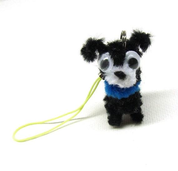 Black Dog, Cute Phone Charm, Cute Puppy, Cute Miniature Key Ring