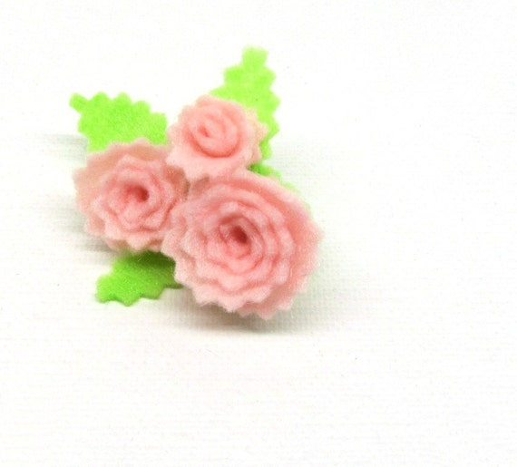Pink Rose Felt Brooch Pin More Colors Available