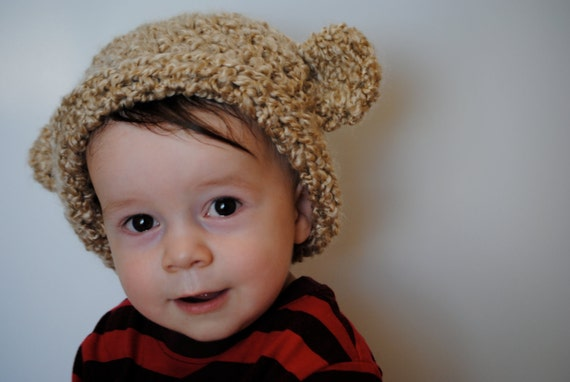 Beige Baby Beanie with Ears 1t-5t