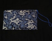 Navy Blue and Silver Chinese Dragon Brocade Clutch