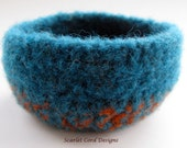 Felted Bowl - Teal and Orange
