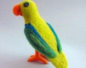 Needle Felted Tropical Green Blue Parrot - Felt Animal Soft Sculpture