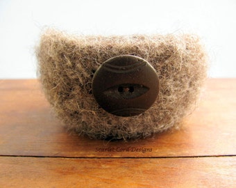 Crocheted Bowl, Felted Wool Bowl, Brown Tweed, Crochet Organizer