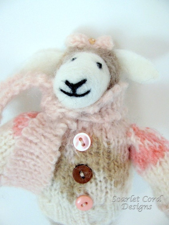 Felted Wool Sheep Art Doll - Needle Felted Sheep