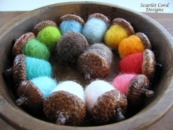 Needle Felted Wool Acorns Set of Six - Made to Order