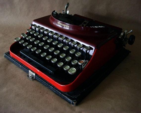 1920's Remington Red Typewriter Portable Number 3 Type Writer
