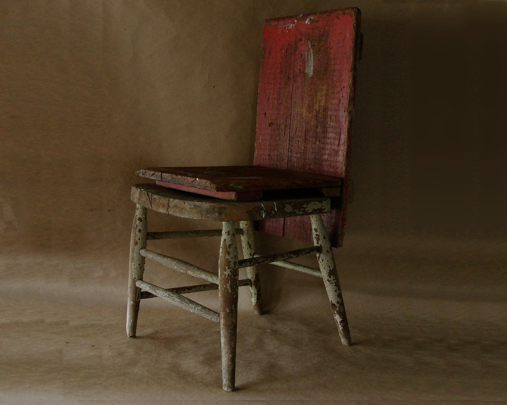 Vintage Chippy Chair Primitive Folk Art Repurposed Art