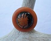 Vintage Button Ring - Tan & Brown