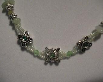 Rachel  korean jade, peridot  and green light crystal necklace.