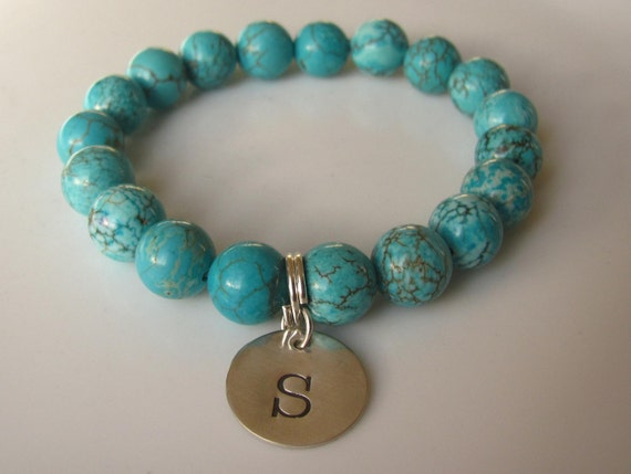 TURQUOISE HOWLITE Semi Precious Gemstone Beaded Bracelet & Sterling Silver Charm