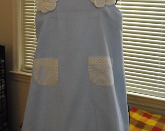 Light Blue Sundress with accents of Light Blue Polka Dots