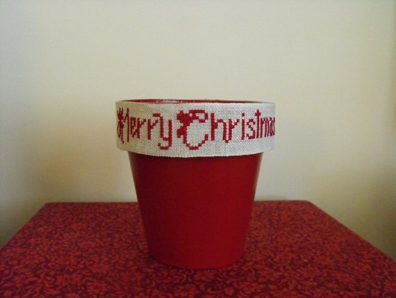 Merry Christmas Hand Cross Stitch Candy Bowl