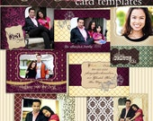 Wine Velvet Card Templates for Photoshop - Digital PSD Cards - Wedding, Baby, Senior, Graduation, Holiday, Invitation, Announcement