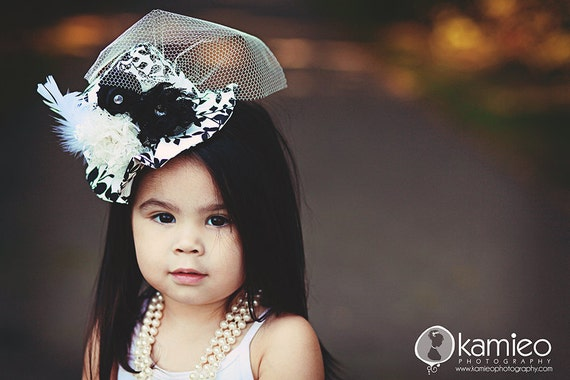 Black and White Mini Hat - Children's or Adult Mini Hat for Photography Prop, Holidays, Weddings, Bridal, Prom, Fascinator, Headband