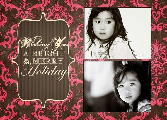 Raspberry Kiss 5 - Digital Card Template - Wedding Invitation Cards, Engagement, Graduation, Senior Announcements, Party, Newborn Baby