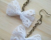 S A L E White Bow Dangle Earrings