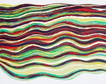 Abstract Waves With Metal Leaf Print Green Red & Yellow - Undulations 2