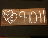 Custom Sign,  Double Heart design with your Initials & Date