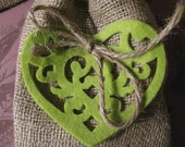 Set of 12 Felt Heart and Burlap Rustic Wedding Favor Treat Bag,  Gift Bags , Great for Valentine's Day