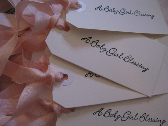 set of 25  Baby Shower Gift or Favor Tags with Vintage Pale Pink Ribbon perfect for a Sweet Baby Girl