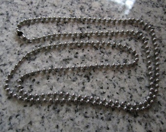 "24"", 2.4mm No. 3 Stainless Steel Ball Chain necklaces, Made in the USA -  AWESOME Silver Alternative BC3-24"