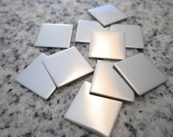 """1/2"""" (13MM) Square Stamping Blanks, 22g Stainless Steel - AWESOME Silver Alternative S04"""