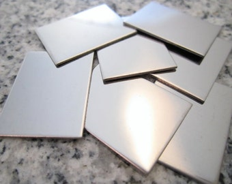 """3/4""""x1"""" (19MMx25MM) Rectangle Stamping Blanks, 22g Stainless Steel - AWESOME Silver Alternative RT06-08"""