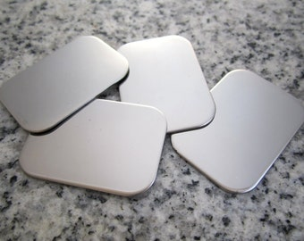 """7/8""""x1 1/4"""" (22MMx32MM) Rectangle Stamping Blanks, 22g Stainless Steel - AWESOME Silver Alternative RT-RC07-10"""