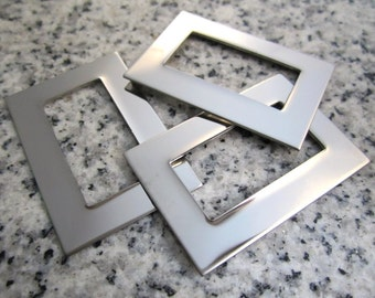 """1"""" x 1 1/2"""" (25mm x 38mm) Rectangle Washer Stamping Blank, 22g Stainless Steel - AWESOME Silver Alternative RTW08-12"""