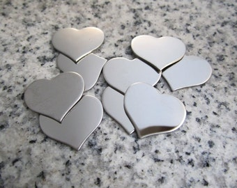 """3/4"""" x 5/8"""" (18mm x 15mm) Heart Stamping Blank, 22g Stainless Steel - AWESOME Silver Alternative H06-05"""