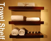 "Wall Floating Shelves 24"" Long Wood Shelf / Set of 3 / Walnut Color / FREE SHIPPING"