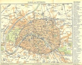 1900 Antique Coloured Map of Paris and Environs. Ideal for Framing.