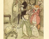 1933 Arthur Rackham Print- The Hare And The Tortoise - Aesops Fables. Ideal For Framing