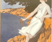 1920s Art Deco La Vie Parisienne French Fashion Print By Armand Vallee - Daydreaming Reverie. Ideal For Framing