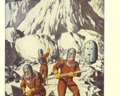 """Vintage 1950s Astronauts On The Moon Print """" The First Men From Earth Land On The Moon"""" Ideal For Framing"""