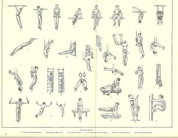 "1900 Antique Black and White Print ""Gymnastics"" Ideal for Framing."