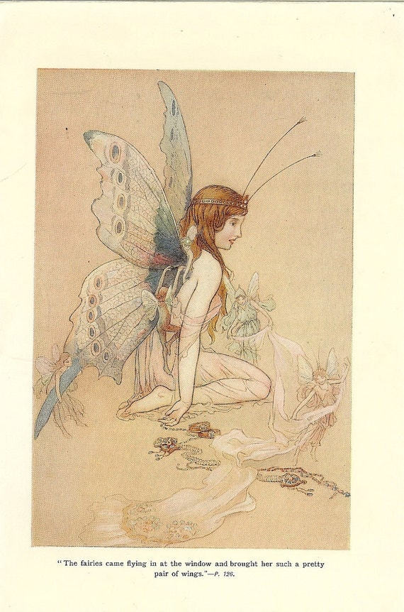 Vintage 1910 The Water Babies Childrens Print Illustrated by Warwick Goble- The Fairies Brought Her A Pair Of Wings