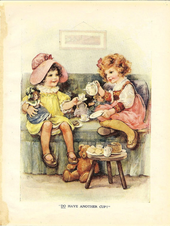 Two Little Girls And Dolls Tea Party Vintage 1915 Print. Ideal
