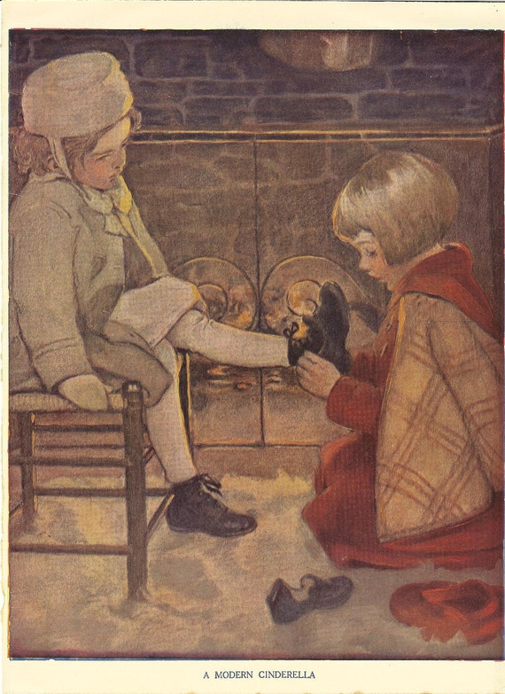 Vintage 1930s  Jessie Willcox Smith Childrens Print-  Little Girl Helps Take Off Another Girls Outdoor Shoe.