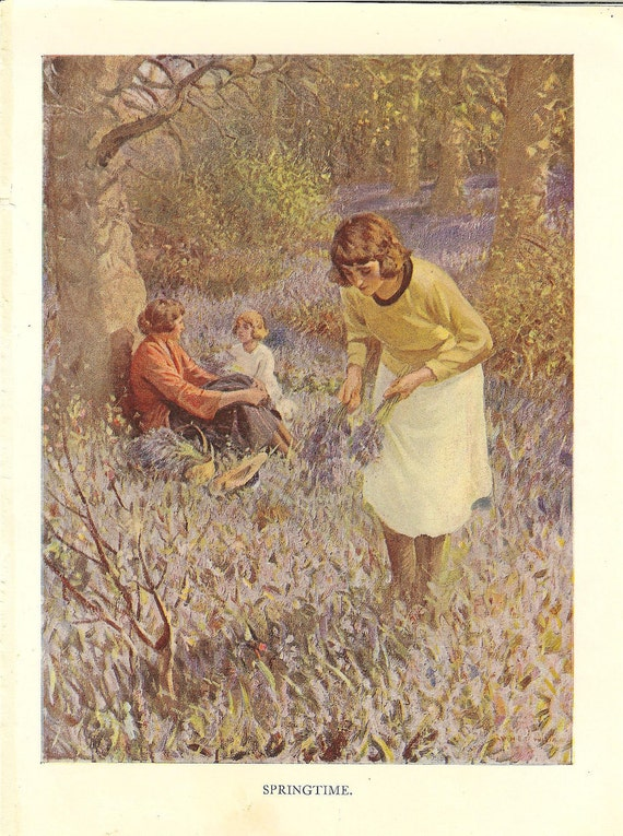 Vintage 1925 Bluebell Woods Print. Girl Picks Bluebells While Friends Chat. Ideal For Framing