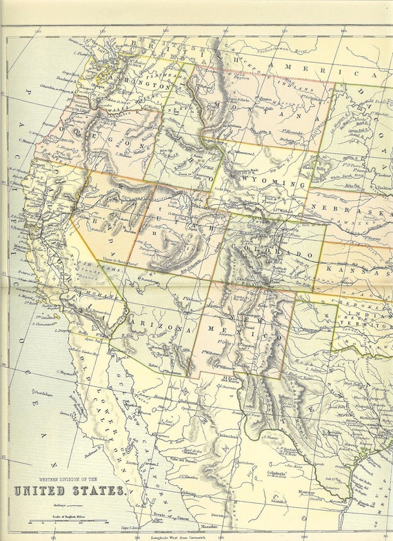 1880s Antique Map Of The Western Division Of The United States Of America. Ideal For Framing.