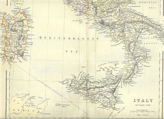 1880s Antique Map Of Southern Italy Including Sicily And Sardinia. Ideal For Framing.