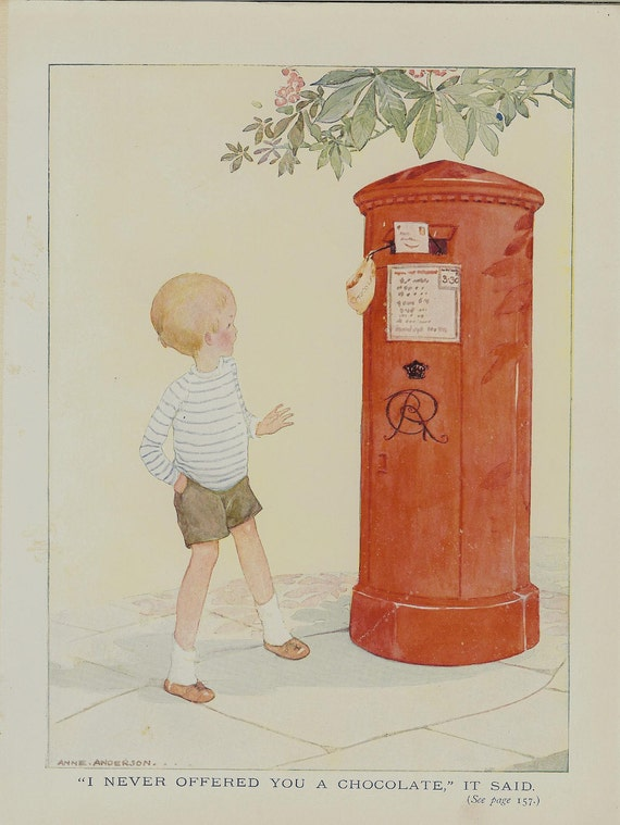 1923 Anne Anderson Vintage Childrens Print Young Boy Talking To A Postbox. Ideal For Framing
