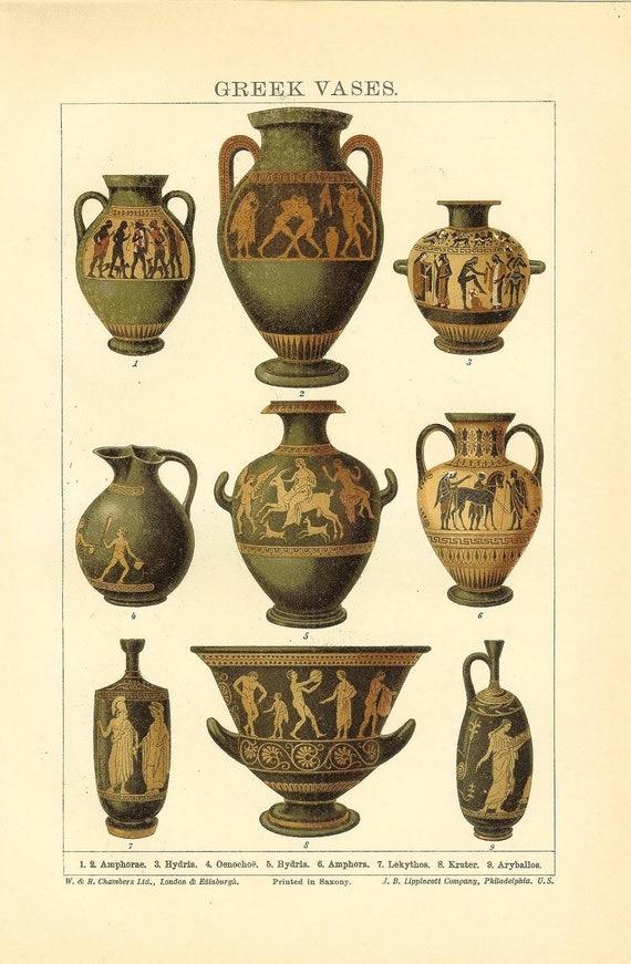 Antique 1906 Greek Vases Print Ideal For Framing