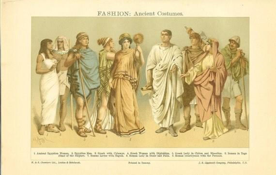 1906 Antique Historical Fashion Print -Ancient Costumes Egyptian Greek Roman Vintage Book Illustration