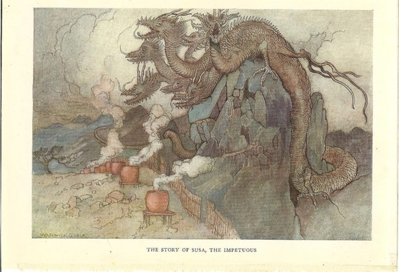 Vintage 1923 Japanese Dragon Print  By Warwick Goble. Ideal For Framing